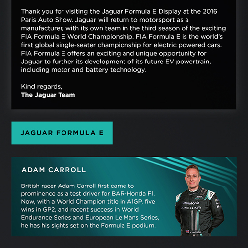 Jaguar Formula E and Jaguar VR E-mails
